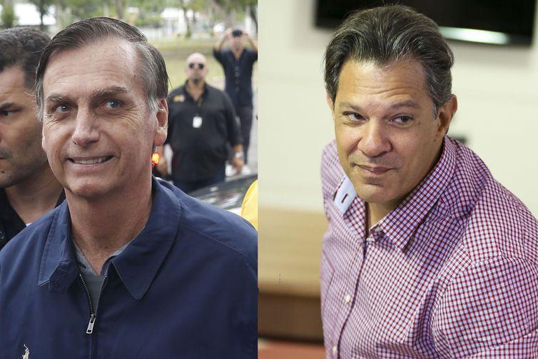 Candidatos à Presidência Jair Bolsonaro (PSL) e Fernando Haddad (PT) (Tânia Rêgo e Marcelo Camargo/Agência Brasil)