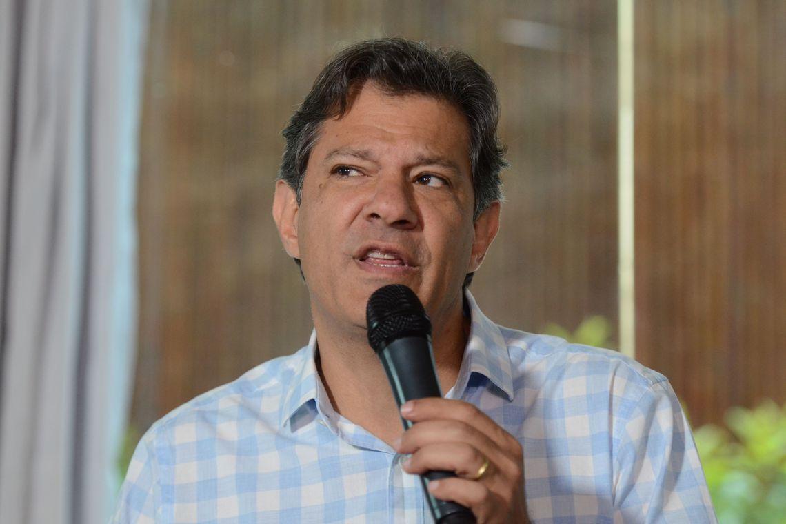 O candidato à Presidência da República, Fernando Haddad (PT), fala à imprensa após reunião com a chefe da missão de observação eleitoral da OEA (Organização dos Estados Americanos), Laura Chinchilla, no hotel Matsubara. (Rovena Rosa/Agência Brasil)