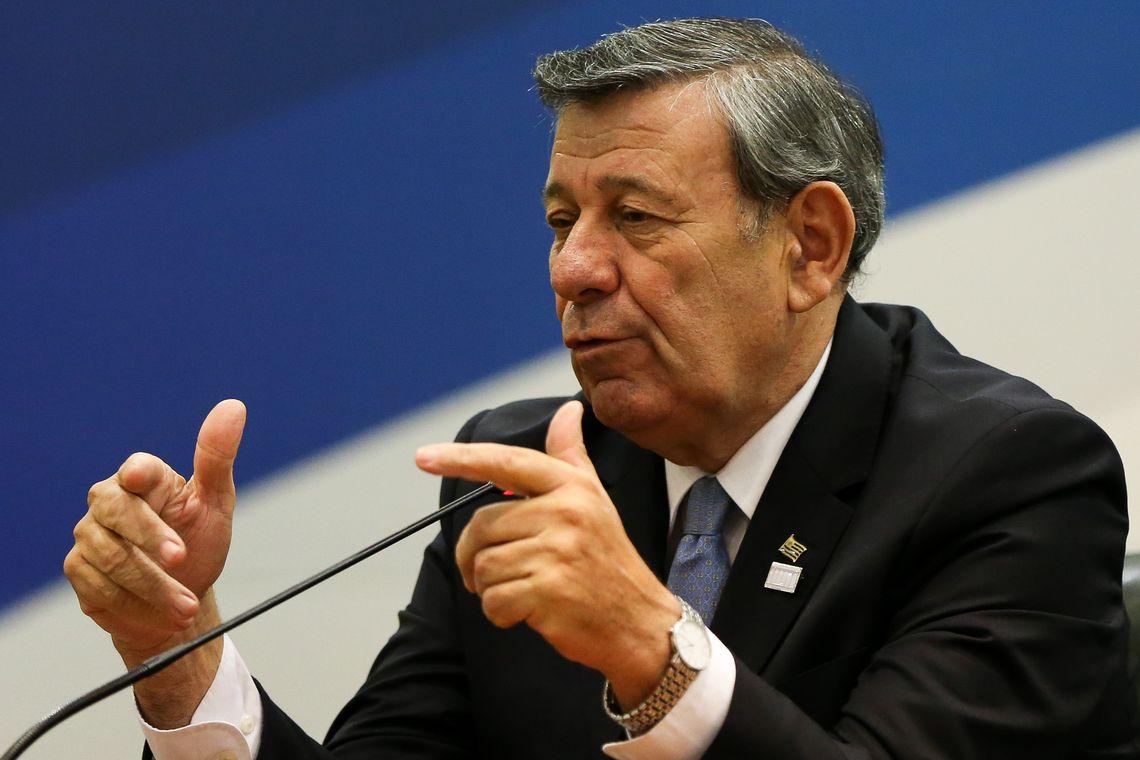 Ministro das Relações Exteriores do Uruguai, Rodolfo Nin Novoa, durante declaração à imprensa após 51ª Reunião do Conselho do Mercado Comum do Mercosul (Marcelo Camargo/Agência Brasil)