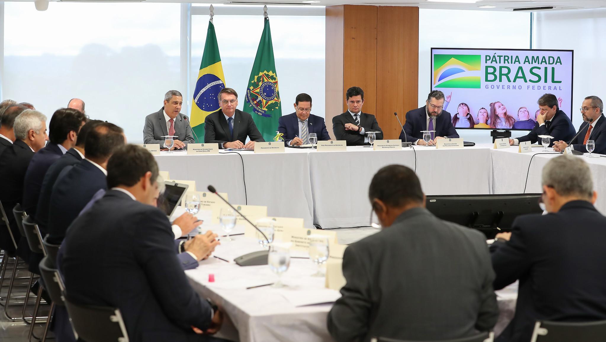 Reunião realizada dois dias antes da saída de Sergio Moro do Governo Bolsonaro (Marcos Corrêa/PR/via Fotos Públicas)