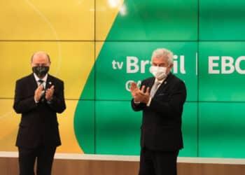 Luis Carlos Pereira Gomes, presidente da EBC, e Marcos Pontes, ministro da Ciência, tecnologia e inovação (Marcello Casal Jr./Agência Brasil)