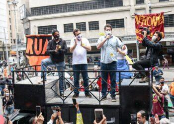 Orlando Silva, Guilherme Boulos e Jilmar Tatto (Rede Social/Reprodução)