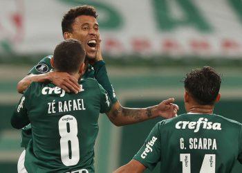 Marcos Rocha comemora seu gol contra o Universidad Católica (Cesar Greco/Palmeiras)