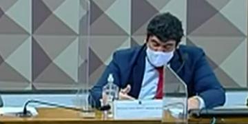 Marcony Faria durante depoimento à CPI da Covid-19 (TV Senado/Reprodução)